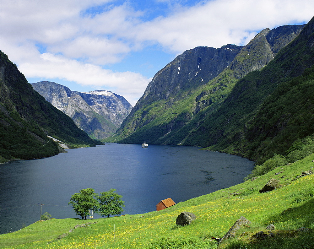 View over Naeroyfjorden, UNESCO World Heritage Site, Sognefjord, Norway, Scandinavia, Europe