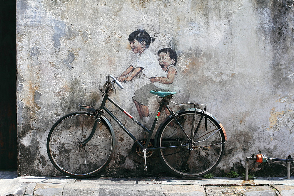 Art work of bike on wall, Georgetown, Penang, Malaysia, Southeast Asia, Asia