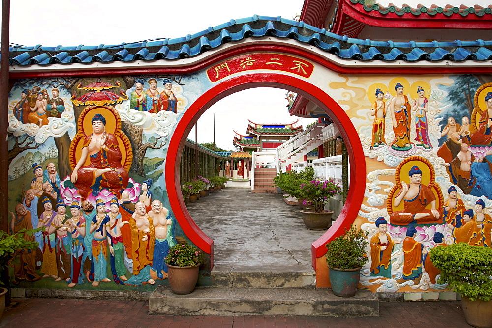 Buddhist teaching wall, Kek Lok Si Temple, Penang, Malaysia, Southeast Asia, Asia - 352-961
