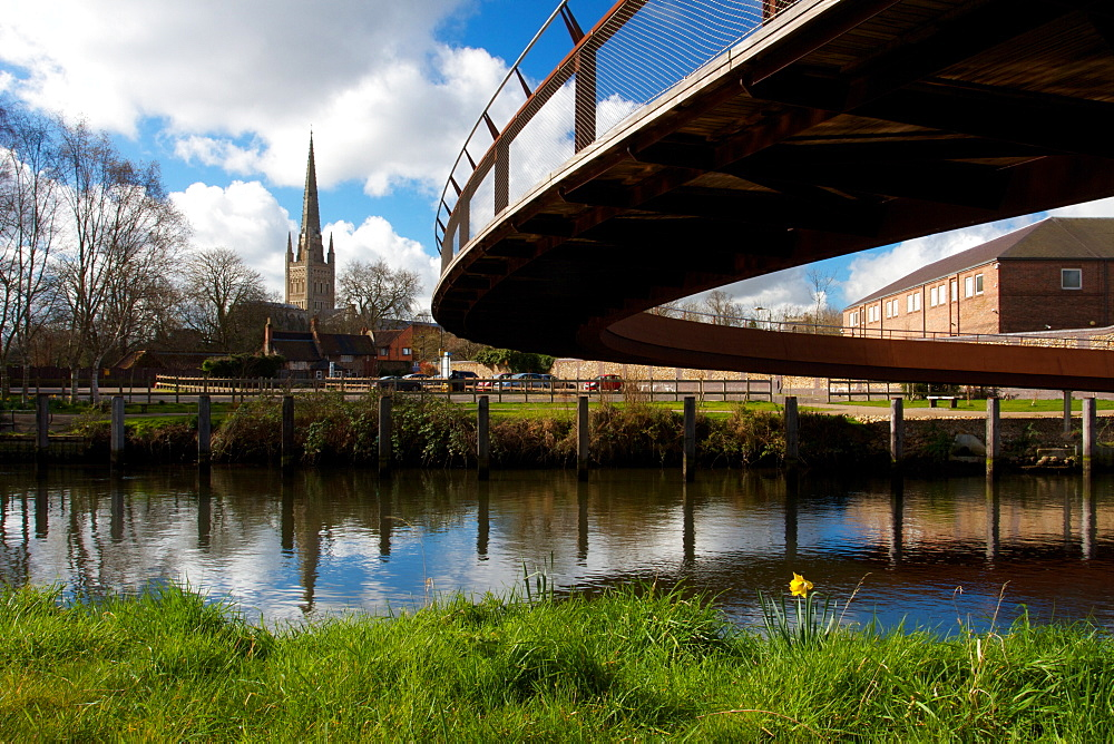 Jarrold Bridge, Cathedral in the background, Sir Peter Jarrold's dream. designed by Stephen James, Norwich, Norfolk, England, United Kingdom, Europe - 352-962
