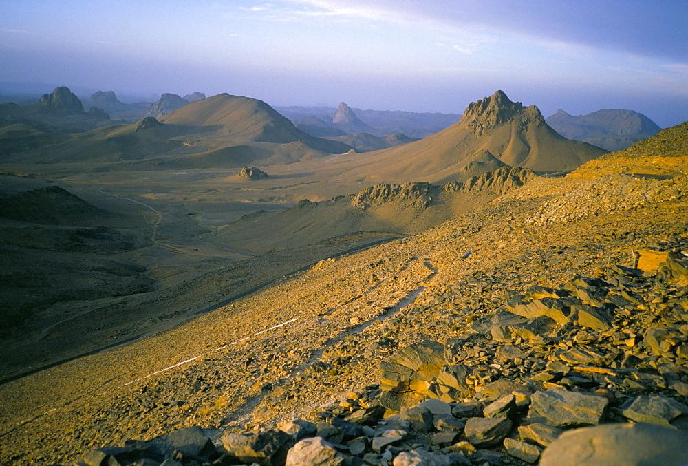 Earning morning, Assekrem, Hoggar Mountains, Sahara desert, Algeria, North Africa, Africa