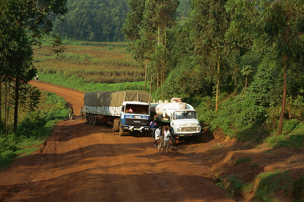 World Food Program truck in transit from Rwanda, near Kisoro, Uganda, East Africa, Africa