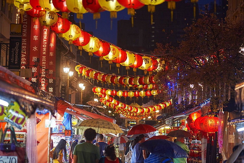 Lanterns illuminate New Bridge Road, Chinatown, Singapore, Southeast Asia, Asia - 358-592