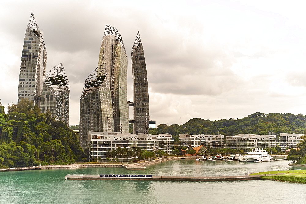 The Marina at Keppel Bay on the approach to Harbourfront Centre cruise ship mooring, Singapore, Southeast Asia, Asia