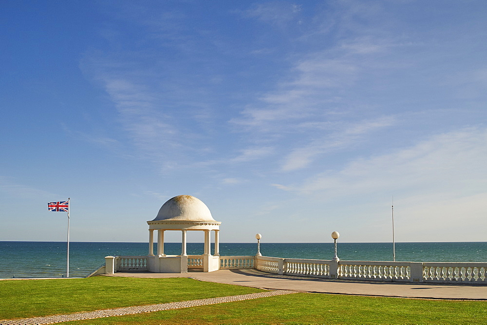 View towards the English Channel from De La Warr Pavilion, Bexhill-on-Sea, East Sussex, England, United Kingdom, Europe - 358-603