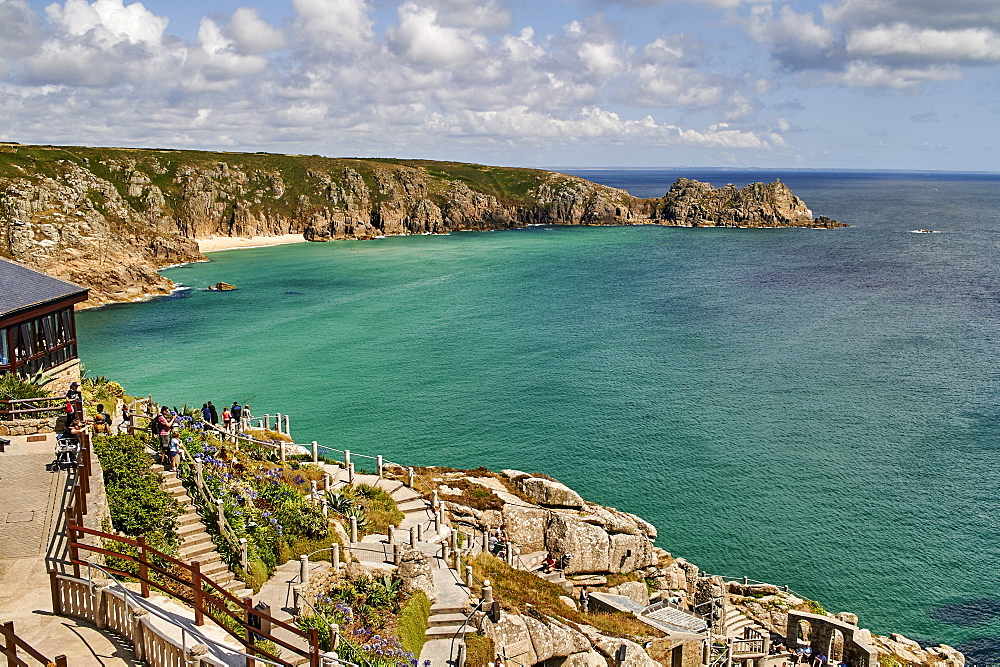 View over the Minack Theatre to Porthcurno beach near Penzance, West Cornwall, England, United Kingdom, Europe - 358-616
