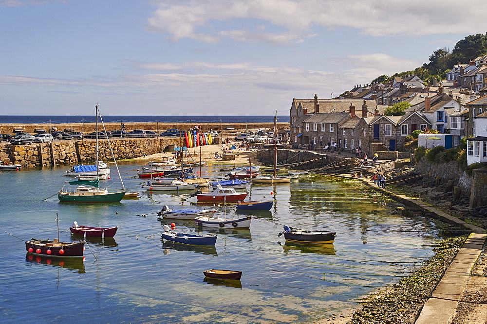 View of the harbour at mid-tide, Mousehole, Penwith, Cornwall, England, United Kingdom, Europe - 358-617
