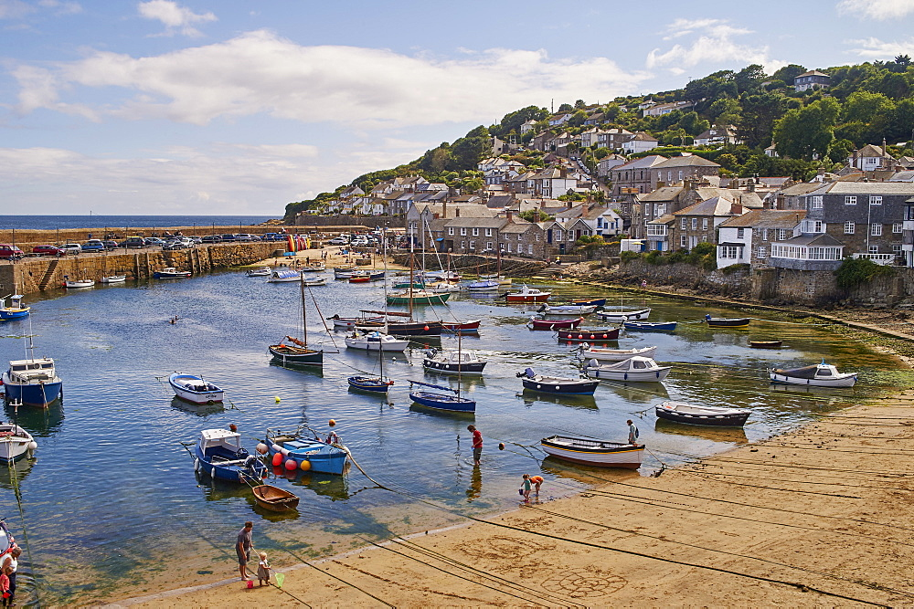 View of the harbour at mid-tide, Mousehole, Penwith, Cornwall, England, United Kingdom, Europe - 358-619