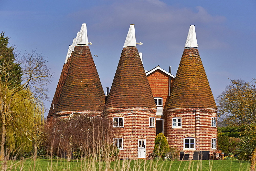 Oast houses (originally used to dry hops in beer-making) converted into farmhouse accommodation at Hadlow, Kent