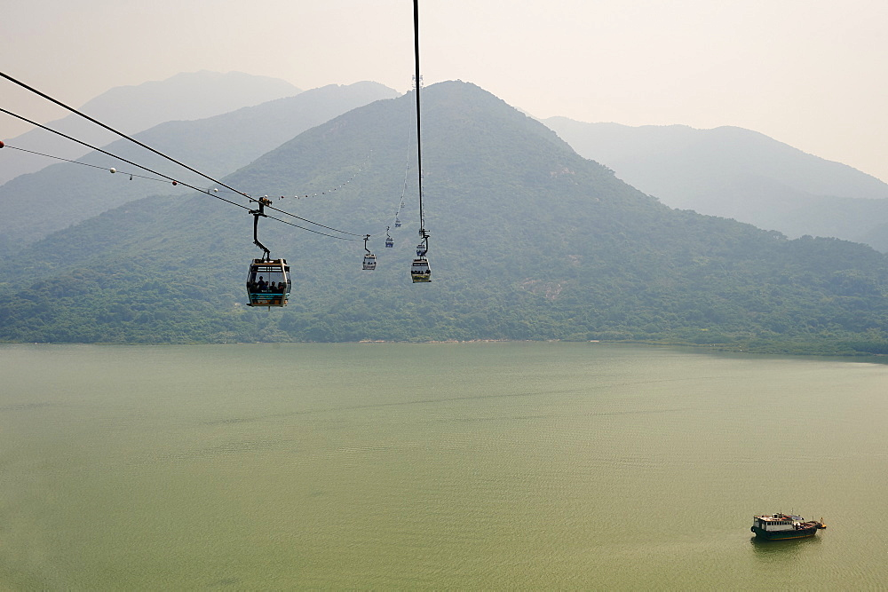 Ngong Ping 360 gondola takes visitors to Big Buddha and Po Lin Monastery, Lantau Island, Hong Kong, China, Asia.