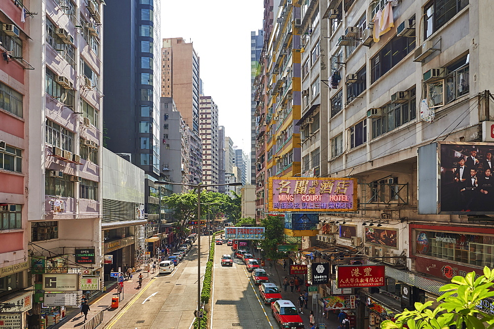 View of shopping district, Wan Chai, Hong Kong, China, Asia
