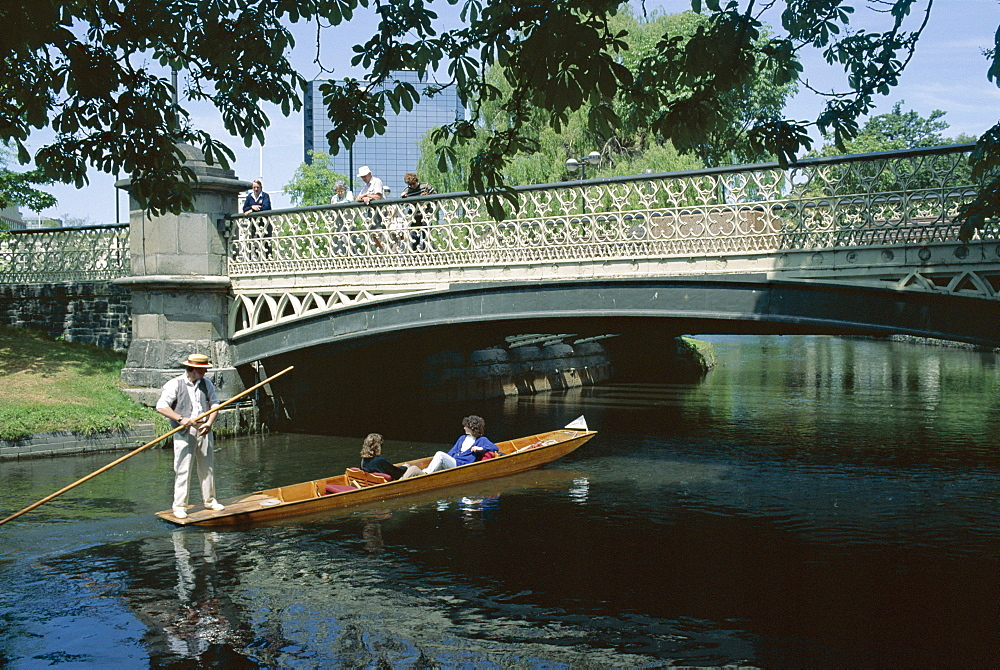 Punt on River Avon going under bridge, Christchurch, Canterbury, South Island, New Zealand, Pacific