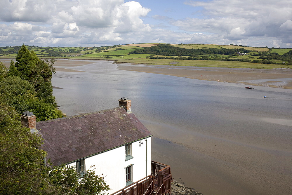 Taf estuary with Dylan Thomas boathouse, Laugharne, Carmarthenshire, South Wales, United Kingdom, Europe - 365-3824