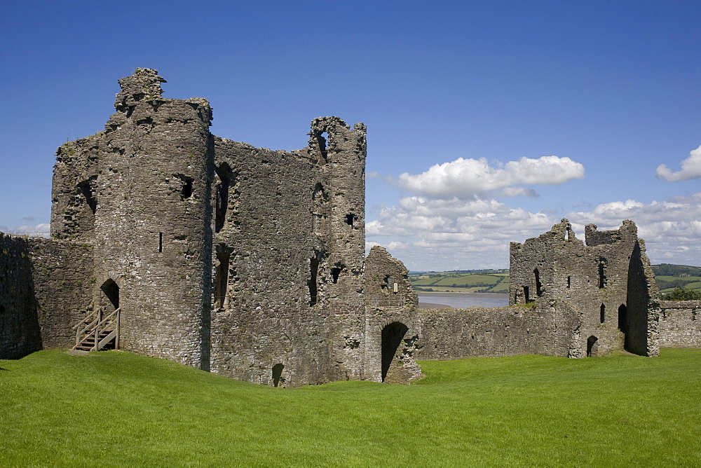 Towers and wall inside Llansteffan castle, Llansteffan, Carmarthenshire, Wales, United Kingdom, Europe