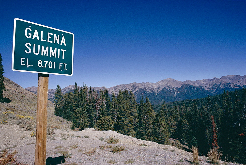 Galena summit view with sign, Sawtooth National Recreation Area, Idaho, United States of America (U.S.A.), North America