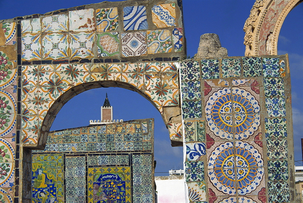 Tiled ruins of the Terrace du Palais d'Orient, Tunis, Tunisia, North Africa, Africa