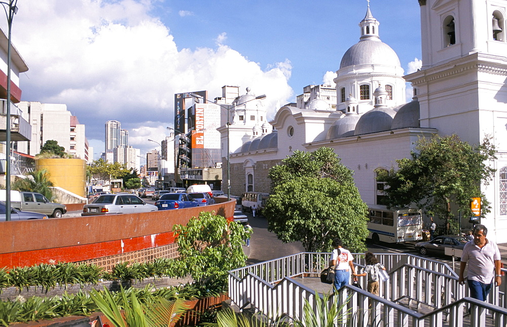 Street scene with Santa Teresa church, Caracas, Venezuela, South America