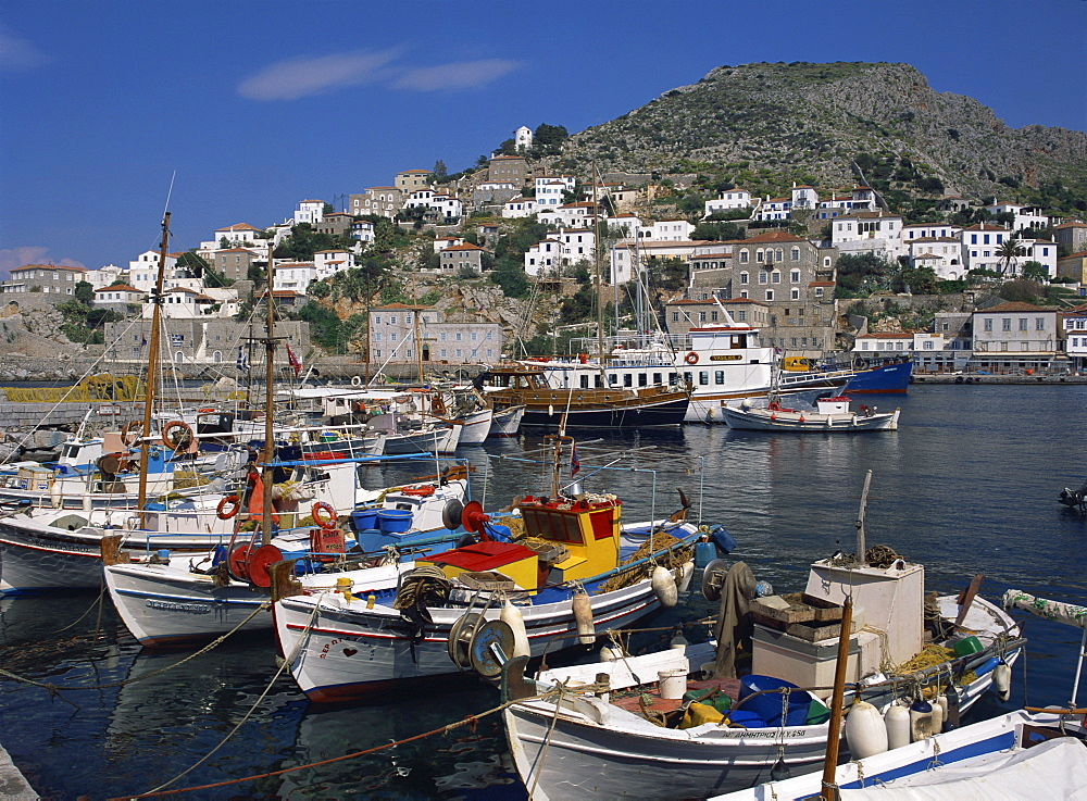 Hydra port and town, Hydra, Greek Islands, Greece, Europe