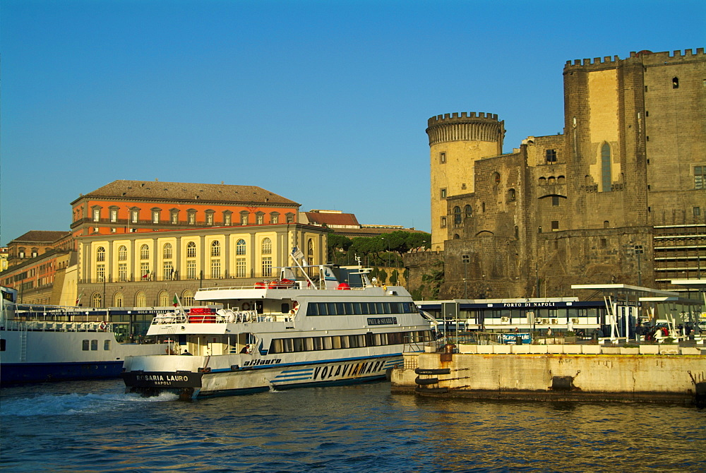 Italy, Campania, Naples, Castell Nuovo and Palazzo Reale from ferry port