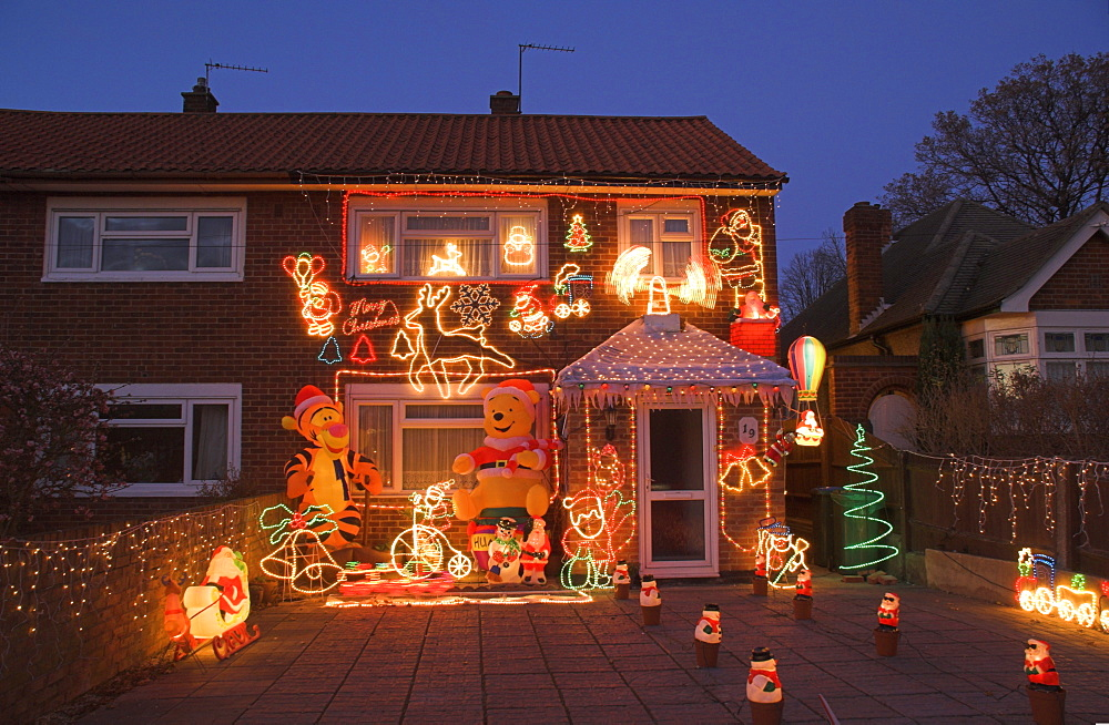 Suburban house with Christmas lights and decorations, Surrey, England, United Kingdom, Europe