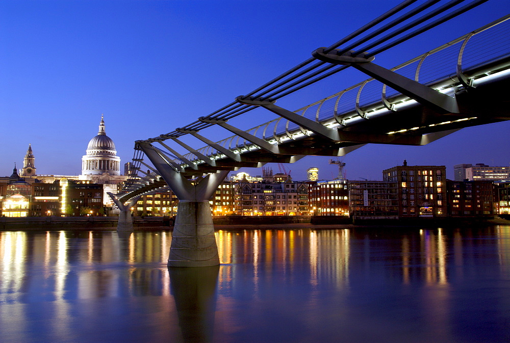 Millennium Bridge and St. Pauls Cathedral, London, England, UK, Europe - 367-5119