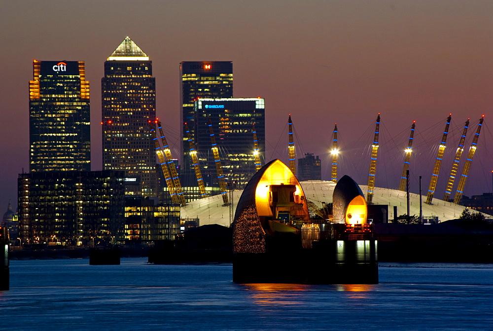 Thames Barrier, O2 Arena, Canary Wharf, London, England, United Kingdom, Europe