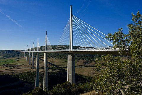 Suspension bridge, Millau, Aveyron, Massif Central, France, Europe - 367-5692