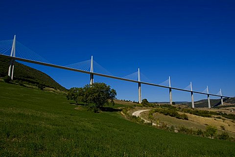 Suspension bridge, Millau, Aveyron, Massif Central, France, Europe