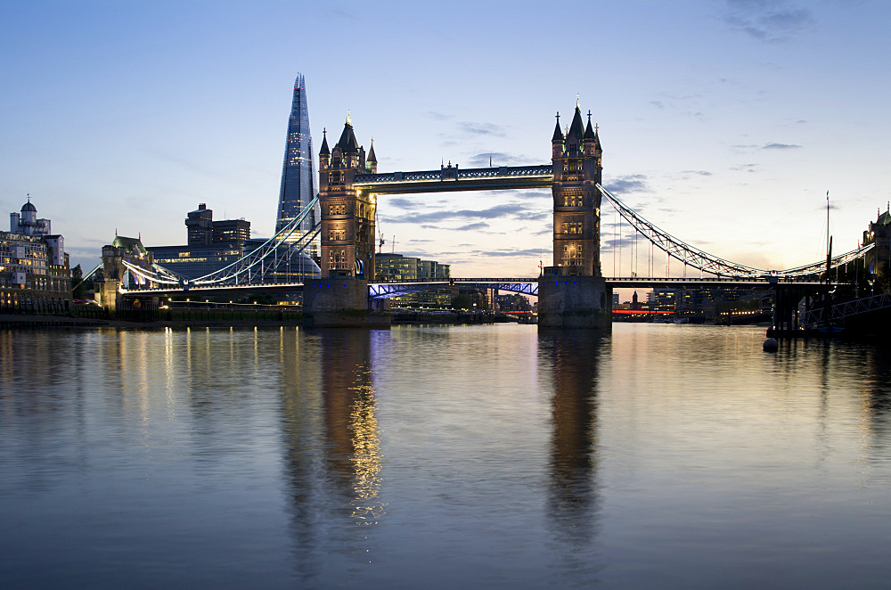 Shard with Tower Bridge at sunset, London, England, United Kingdom, Europe - 367-5869