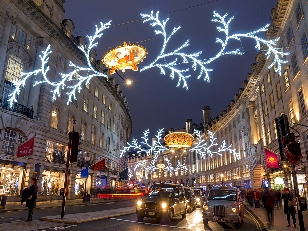 Christmas lights, Regent Street, West End, London, England, United Kingdom, Europe