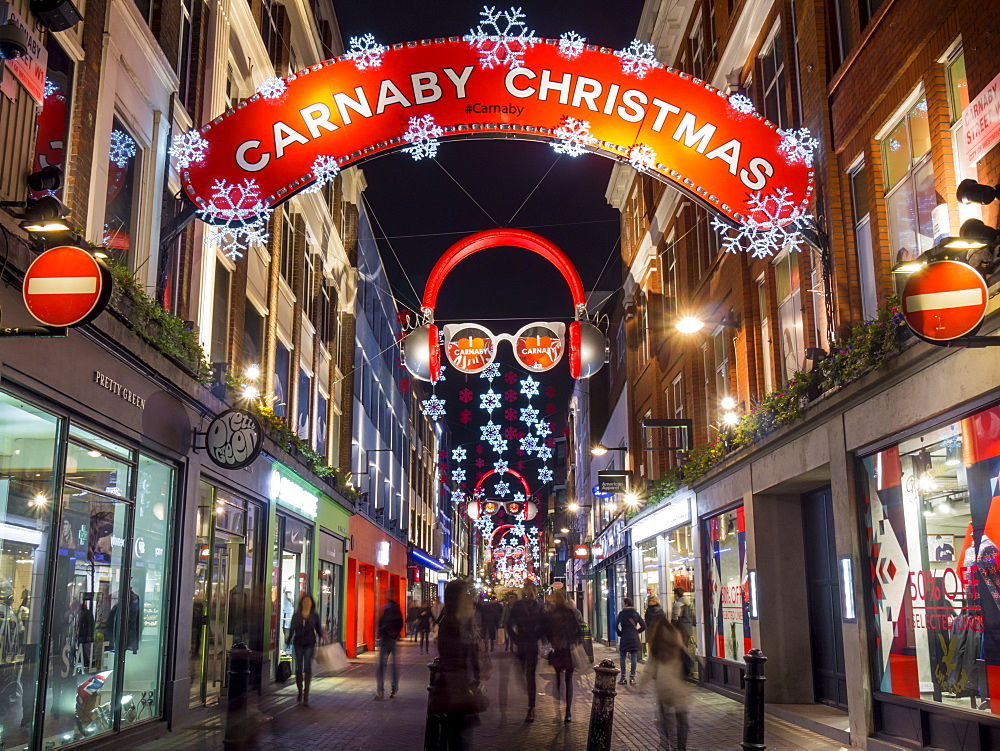Christmas lights, Carnaby street, London, England, United Kingdom, Europe