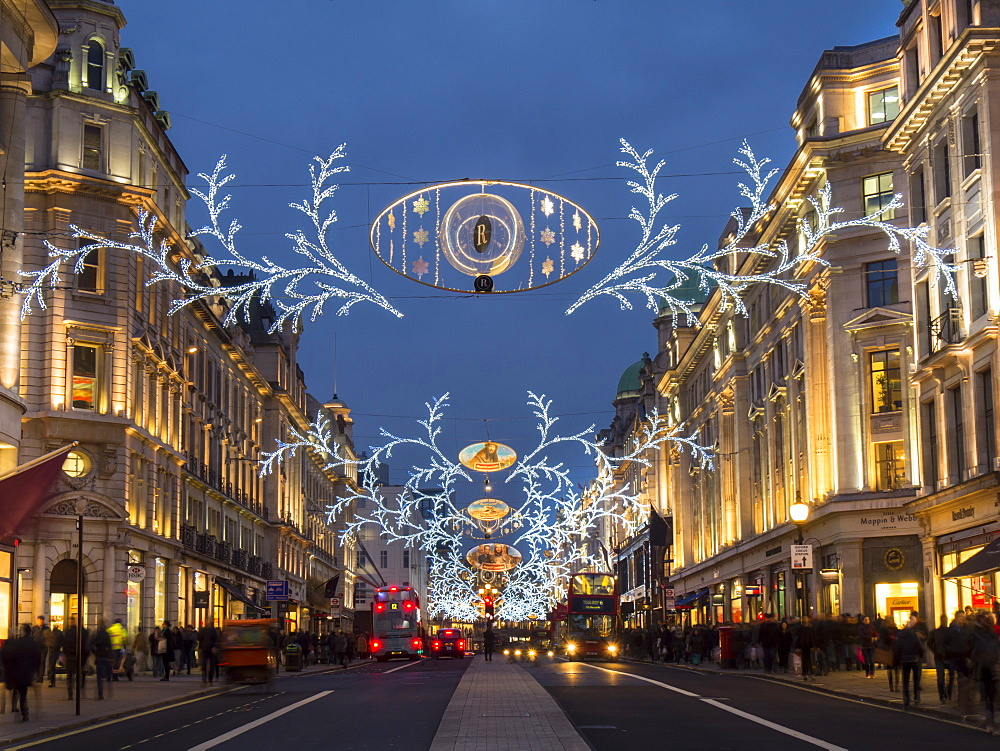 Christmas lights, Regent Street, London, England, United Kingdom, Europe