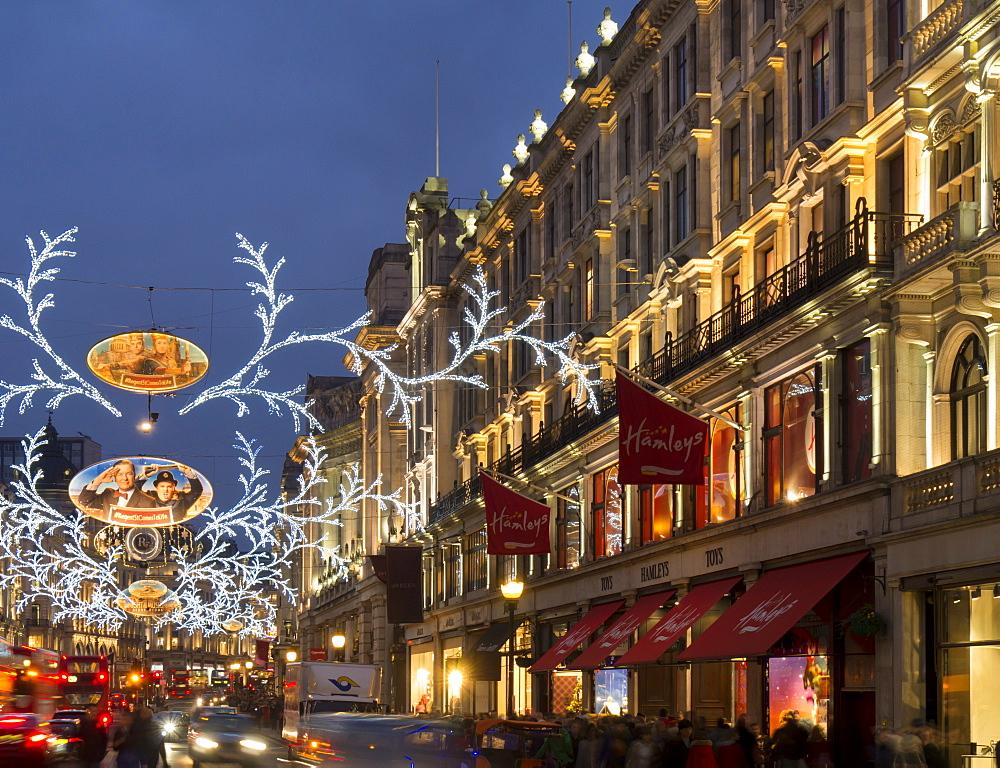 Christmas lights, Regent Street, London, England, United Kingdom, Europe