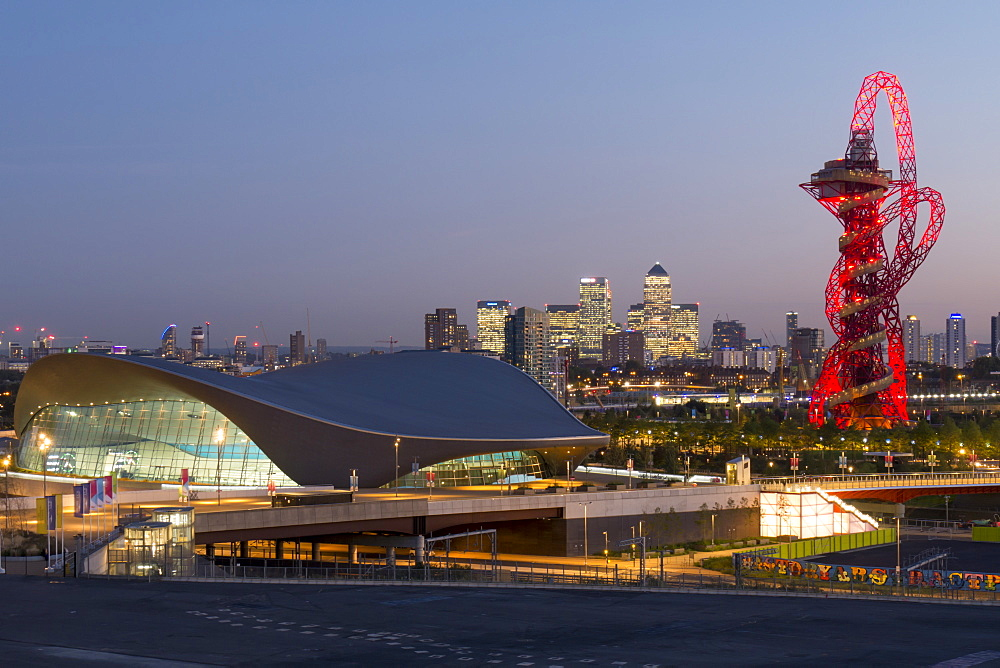 The Orbit, Olympic Park, and Canary Wharf at dusk, London, England, United Kingdom, Europe