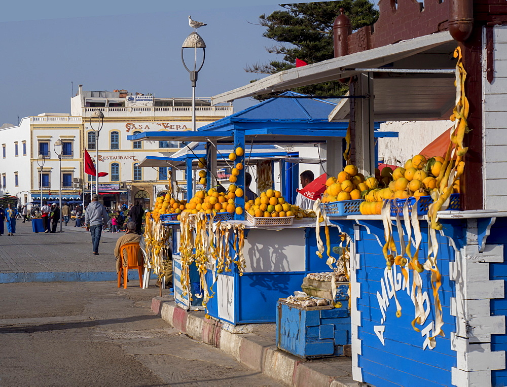 Orange stall near port, Essaouira, Morocco, North Africa, Africa
