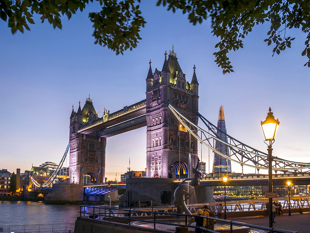 Tower Bridge and Shard at dusk, London, England, United Kingdom, Europe