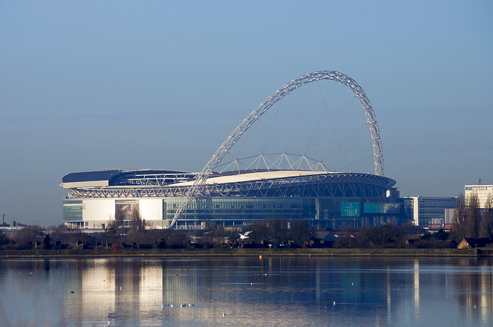 Wembley Stadium across Welsh Harp Lake, London, England, United Kingdom, Europe - 367-6103
