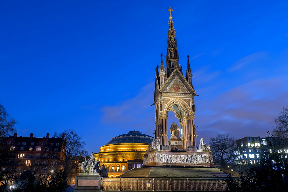 Albert Memorial and Albert Hall at dusk, Kensington, London, England, United Kingdom, Europe - 367-6108