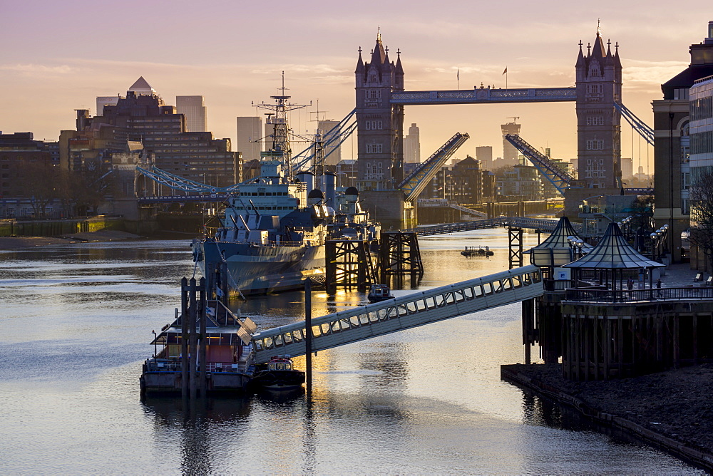 Tower Bridge raising deck with HMS Belfast on the River Thames, London, England, United Kingdom, Europe - 367-6114