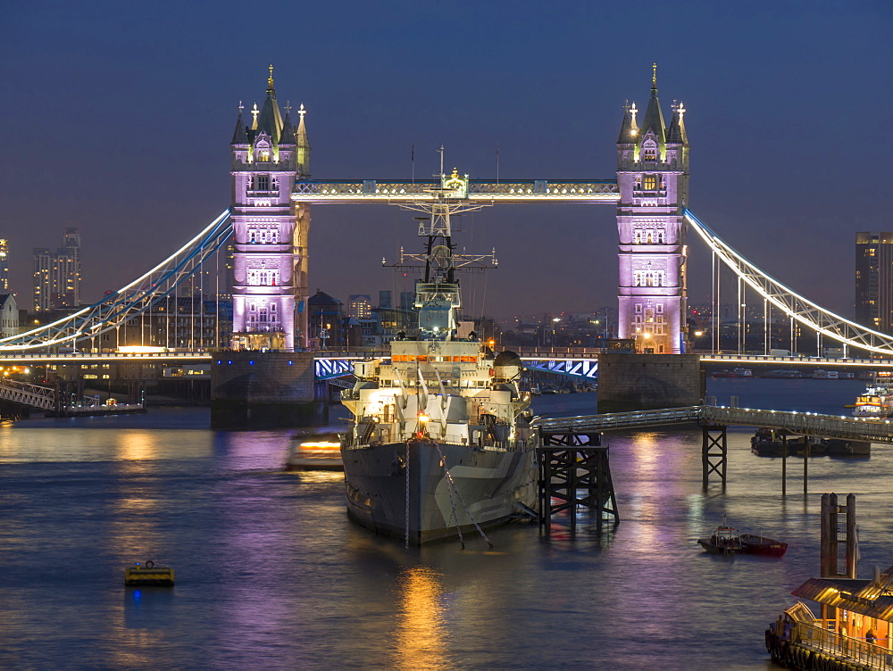 Tower Bridge and HMS Belfast on the River Thames at dusk, London, England, United Kingdom, Europe