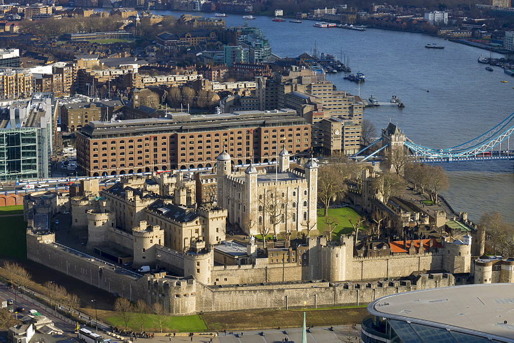 Aerial view of the Tower of London, UNESCO World Heritage Site, London, England, United Kingdom, Europe - 367-6116