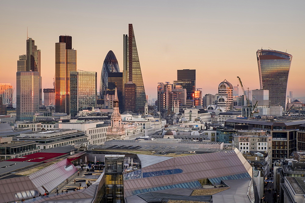 City of London skyline from St. Pauls Cathedral, London, England, United Kingdom, Europe