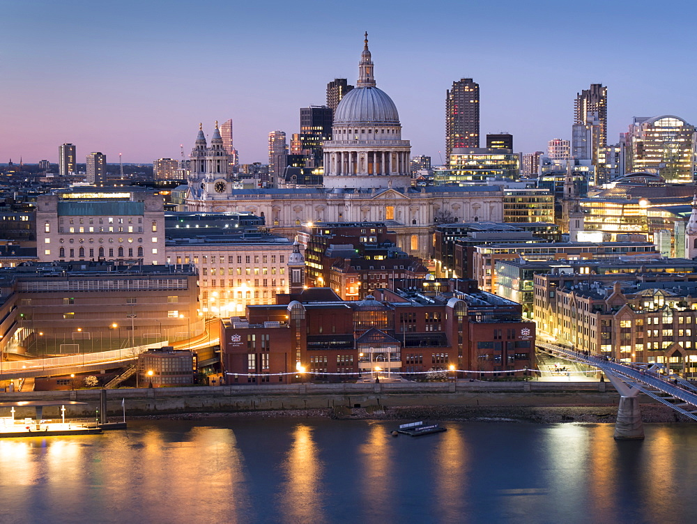 St. Paul's Cathedral and City of London skyline from Tate Switch at dusk, London, England, United Kingdom, Europe