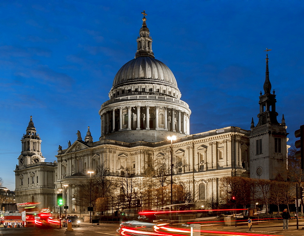 St. Paul's cathedral dusk, London, England, United Kingdom, Europe - 367-6154