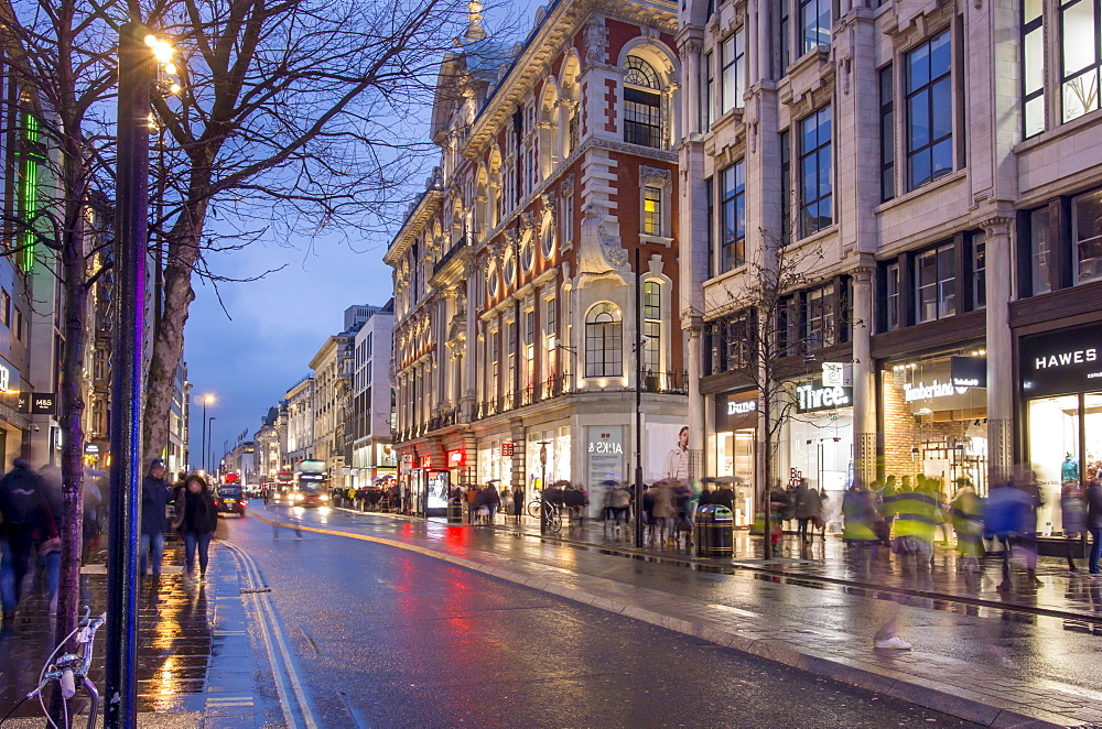 Rainy dusk on Oxford Street, London, England, United Kingdom, Europe - 367-6165