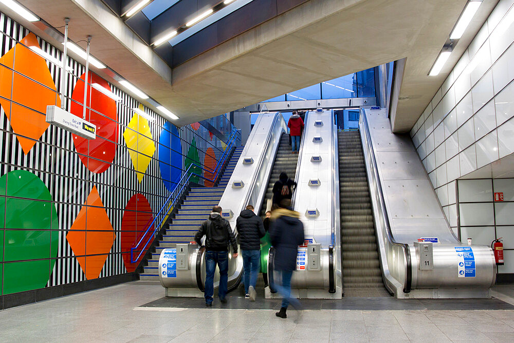 The redeveloped Tottenham Court Road station escalators, London, England, United Kingdom, Europe - 367-6166