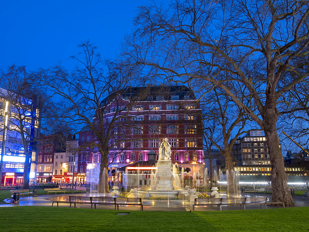 Redeveloped Leicester Square at dusk, London, England, United Kingdom, Europe - 367-6167
