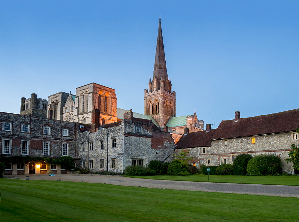Chichester Cathedral dusk, Chichester, West Sussex, England, United Kingdom, Europe - 367-6169