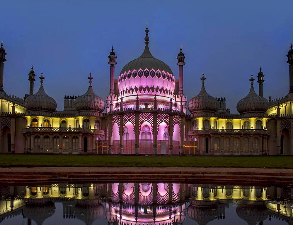 Royal Pavilion reflection dusk, Brighton, Sussex, England, United Kingdom, Europe - 367-6192