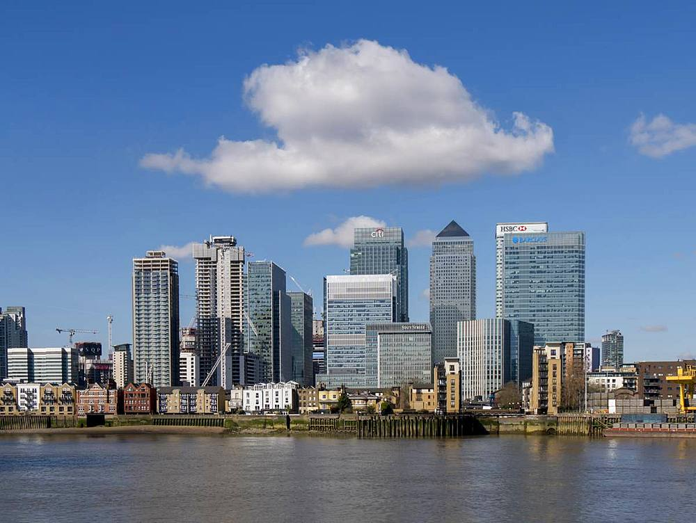 Canary Wharf office towers from Greenwich North, Docklands, London, England, United Kingdom, Europe